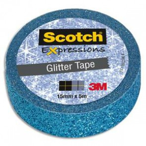 Ruban Expression (MaskingTape) pailleté bleu 15mmx5m Scotch