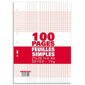 100 copies simples A 4 grands carreaux