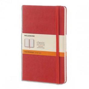 MOLESKINE Carnet 240 pages ligné format Large 13x21.Couverture rigide orange corail