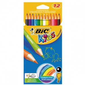 Etui 12 crayons de couleur TROPICOLOR2 ; version sans bois de qualité BIC, couleurs vives.
