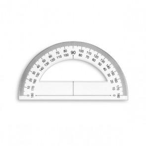Rapporteur plastique 180° base 12 cm gradué degrés et mm