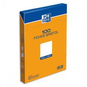 100 Fiches Bristol blanches unies taille A4 21x29,7 non perforées en boite carton Oxford
