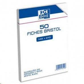 Sachet de 50 fiches bristol perforées 14,8x21cm 5x5 blanc Réf. Oxford Hamelin 100102343