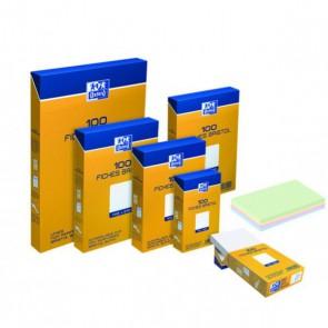 Etui distributeur de 100 fiches bristol perforées 210g 14,8x21cm 5x5 blanc OXFORD