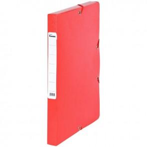 Boîte de classement en carte grainée, dos de 25 mm, coloris rouge