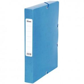 Boîte de classement en carte grainée, dos de 40 mm, coloris bleu