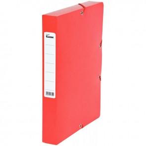 Boîte de classement en carte grainée, dos de 40 mm, coloris rouge