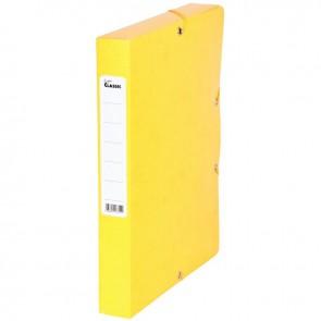 Boîte de classement en carte grainée, dos de 40 mm, coloris jaune