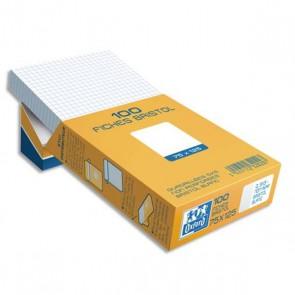 100 fiches bristol 75 x 125 blanches à petits carreaux 5x5 en 205 g. qualité Oxford