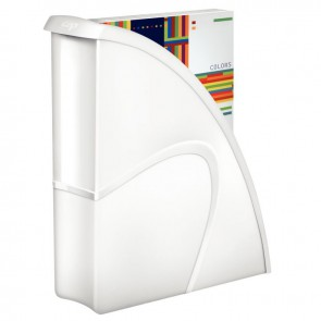 Porte revues en polystyrène robuste et rigide CEP dos 8,5 cm gloss blanc