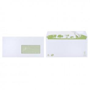 Boite de 500 enveloppes blanches recyclées DL 110x220 80g/m² fenêtre 45x100 bande de protection