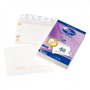 Paquet de 50 enveloppes blanches précasées C6 114x162 80g/m² bande de protection