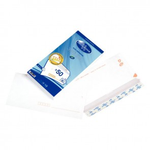 Paquet de 50 enveloppes blanches précasées DL 110x220 80g/m² bande de protection