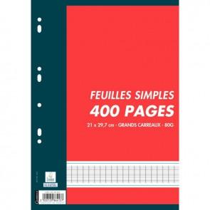 Sachet de 200 feuillets mobiles (400 pages) format A4 séyès 80g blanc