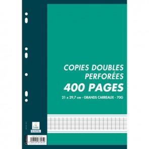 Sachet de 100 copies doubles (400 pages) format A4 séyès 70g blanc