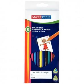 Pochette de 12 crayons de couleur triangulaires pointe moyenne assortis