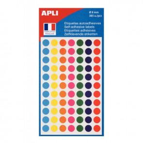 Etui de 385 disques adhésifs diam. 8 mm coloris assortis