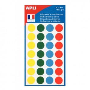 Etui de 140 disques adhésifs Ø 15 mm coloris assortis