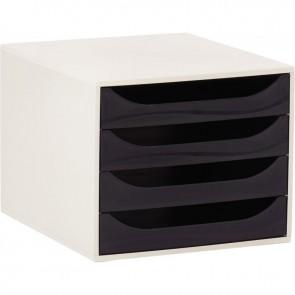 Module 4 tiroirs Ecobox de couleur gris et noir