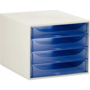 Module 4 tiroirs Ecobox de couleur gris et bleu