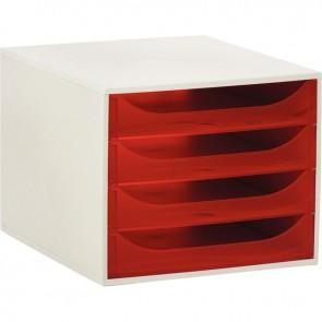 Module 4 tiroirs Ecobox de couleur gris et framboise