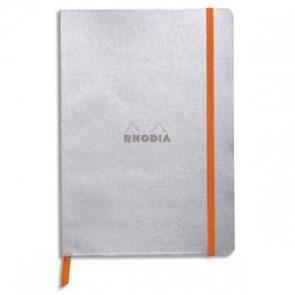 Carnet Rhodiarama 14,8x21 160 pages lignées. Couverture simili-cuir gris Argent