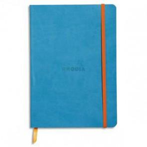 Carnet Rhodiarama 14,8x21 160 pages lignées. Couverture simili-cuir gris turquoise
