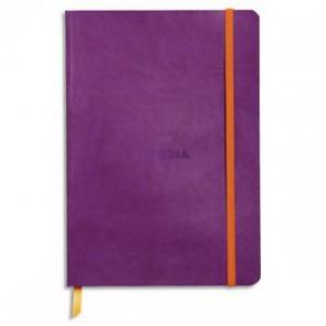 RHODIA Carnet Rhodiarama 14,8x21 160 pages lignées. Couverture simili-cuir violet