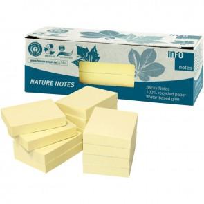 Paquet de 12 blocs de notes repositionnables de 100 feuilles recyclées 40 x 50 mm jaune