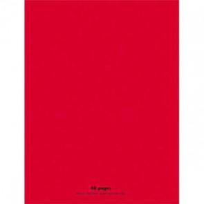 CONQUERANT Cahier piqûre 24x32cm 48 pages 90g séyès grands carreaux. Couverture polypropylène rouge