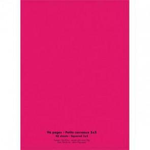 NEUTRE Cahier piqûre 24x32 96 pages petits carreaux 90g. Couverture polypro rose (Default)