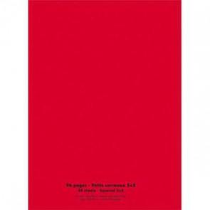 NEUTRE Cahier piqûre 24x32 96 pages petits carreaux 90g. Couverture polypro rouge (Default)