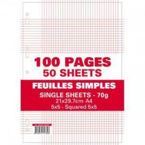 Liste scolaire pas cher les 100 pages copies simples  perforées. 21x29,7 A4,  soit 50 feuilles petit carreaux 5x5 70g.
