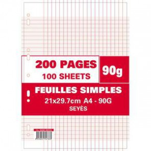200 pages de copies simples A 4 GRANDS CARREAUX