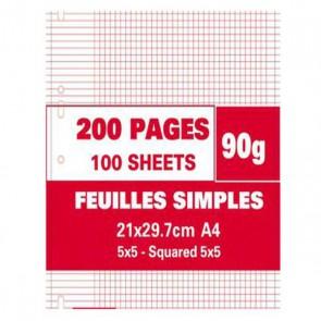 sachet de 100 copies simples A4 petits carreaux 90g perforées
