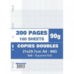 Sachet de 100 feuilles ou 200 pages en copies doubles A4 petits carreaux 90g perforée. Réf. usine A: 302472