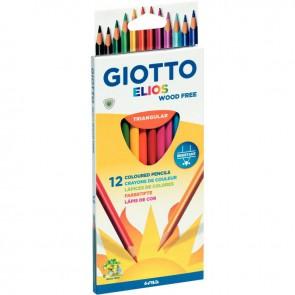 Etui de 12 crayons de couleur Elios  Wood Free  assortis
