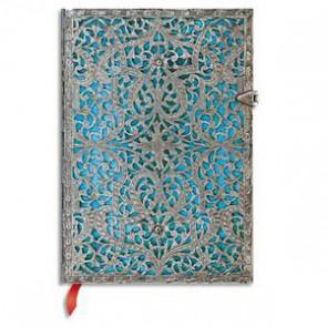 PAPERBLANKS - Carnet Filigrane Argenté Maya Bleu Midi 13x18cm 240 pages lignées