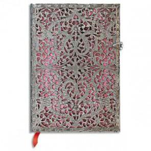 PAPERBLANKS - Carnet Filigrane Argenté Rose Tendre Midi 13x18cm 240 pages lignées