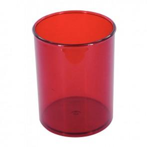 Pot à crayon transparent rouge