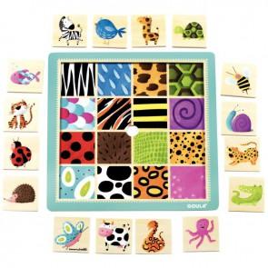 Puzzle en bois, 16 pièces à encastrer, textures animaux