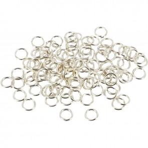 Sachet de 100 anneaux argentés ouverts, diamètre 5 mm