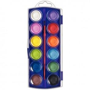 Boîte de 12 pastilles de gouache 30 mm couleurs assorties + 1 pinceau