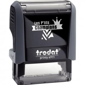 """Tampon Les P'tits Champions, formule """"Champion d'écriture"""""""