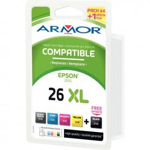 Pack de 5 cartouches encre compatible à la marque Epson 26XL noir cyan magenta jaune haute capacité