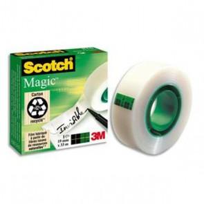 Fourniture école et  bureau le Scotch Magic 810, se déroule et se découpe facilement et sans bruit, invisible après application. Ce Scotch Magic 810 permet l'écriture et n'apparaît pas à la photocopie. Ne jaunit pas en vieillissant.