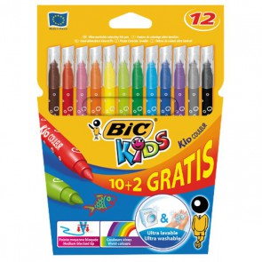 12 Feutres pointe moyenne KID couleur