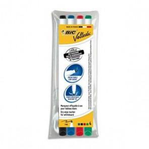 Pochette 4 feutres pour ardoise effaçable à sec  Velleda de Bic, pointe fine trait moyen de 1,5 mm les 4 couleurs scolaires : vert, rouge, bleu, noire
