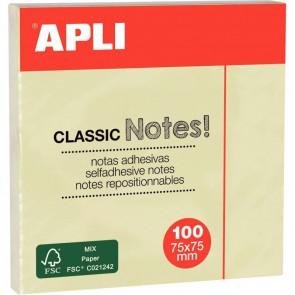 Bloc de 100 feuilles notes adhésif repositionnable, 75 x 75 mm, jaune