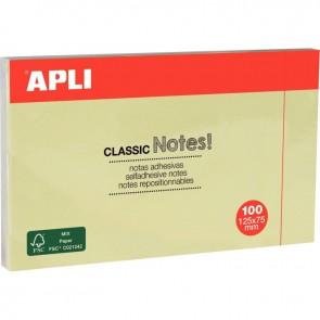 Bloc de 100 feuilles notes adhésif repositionnable, 125 x 75 mm, jaune